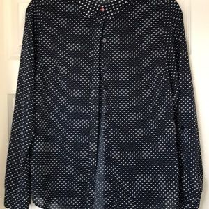The Limited navy polka dot blouse